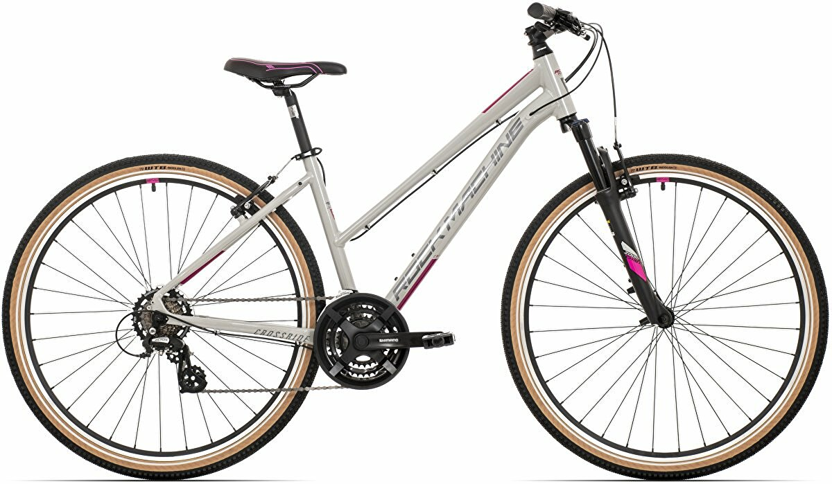 Dámské kolo Rock Machine CrossRide 100 lady  gloss light grey/dark grey/New pink  2021 vel. M-17""