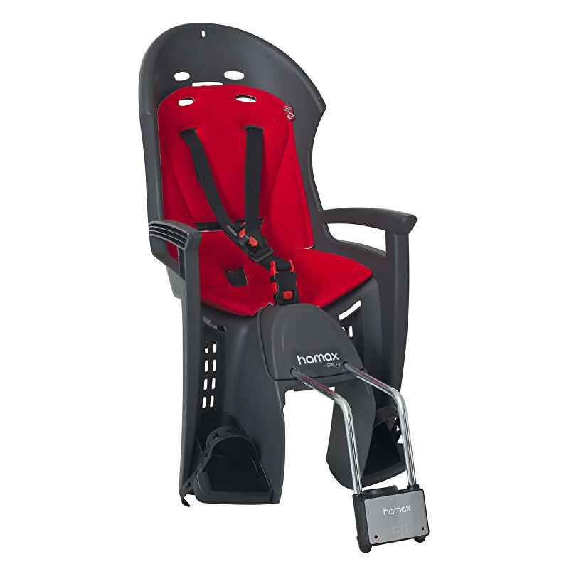Dětská sedačka zadní HAMAX Smiley lock šedo/červená