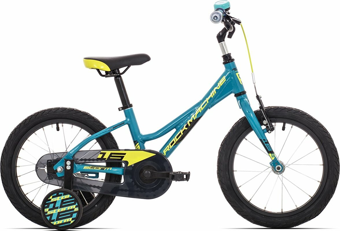 Dětské kolo Rock Machine Storm 16 gloss petrol blue/radioactive yellow/black 2020