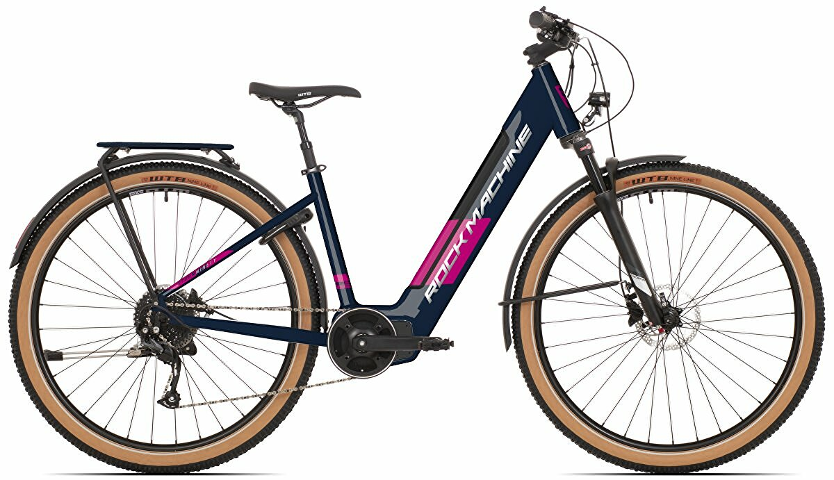 Dámské elektrokolo ROCK MACHINE Storm INT e90-29 lady touring mat dark blue/silver/pink 2021 vel. 17""