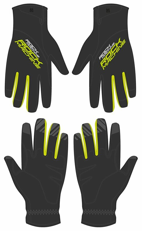 dlouhoprsté zimní rukavice ROCK MACHINE Race zeleno/černé vel.L