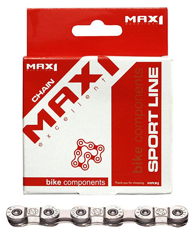 řetěz MAX1 9 speed, 116L, stříbrný, se spojkou