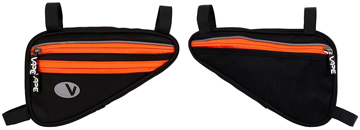 brašna VAPE trojúhelník plochý 4 kapsový černý/fluo oranžový zip