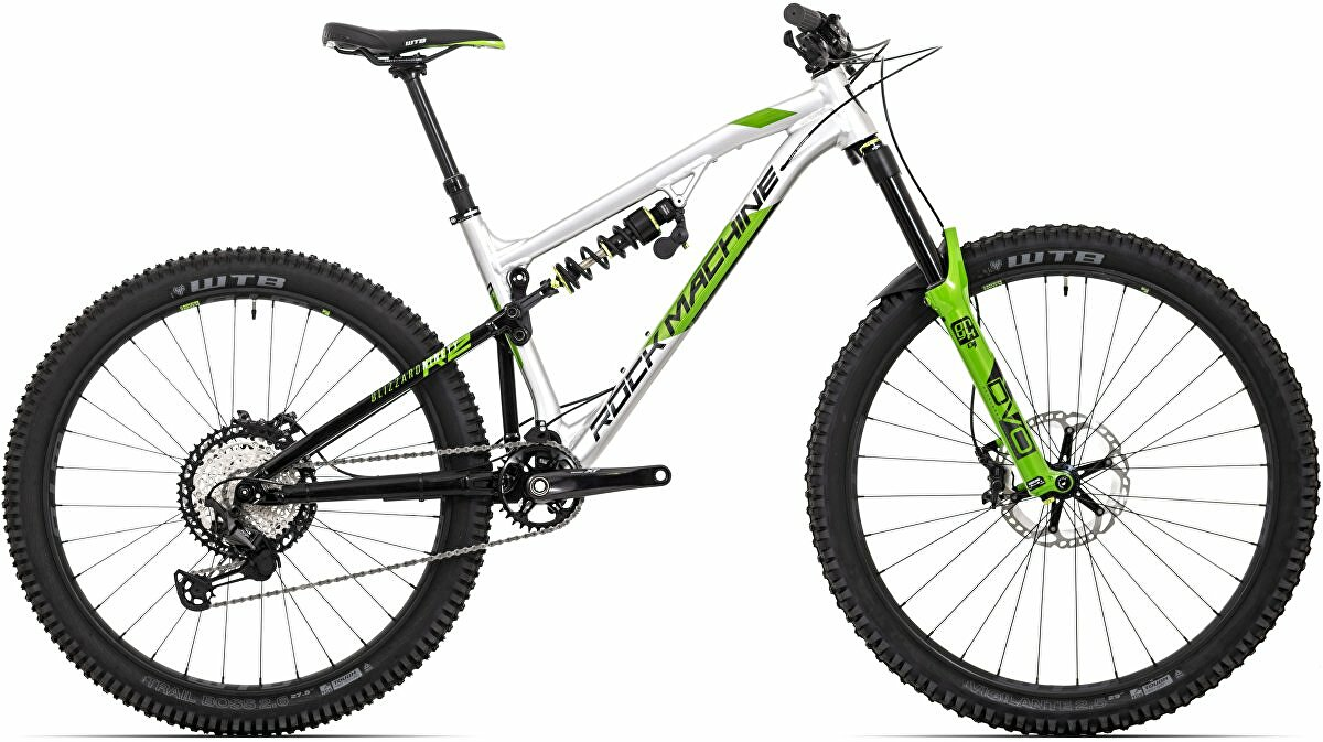 "Horské kolo Rock Machine Blizzard 90-297 RZ  gloss silver/black/DVO green 29""/27,5"" (mullet) vel. XL-21"""