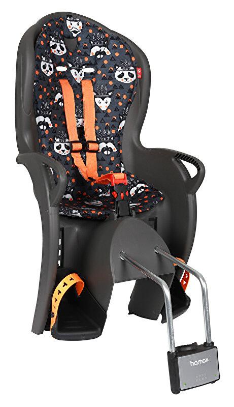 Dětská sedačka zadní HAMAX Kiss šedo/černá se zvířátky