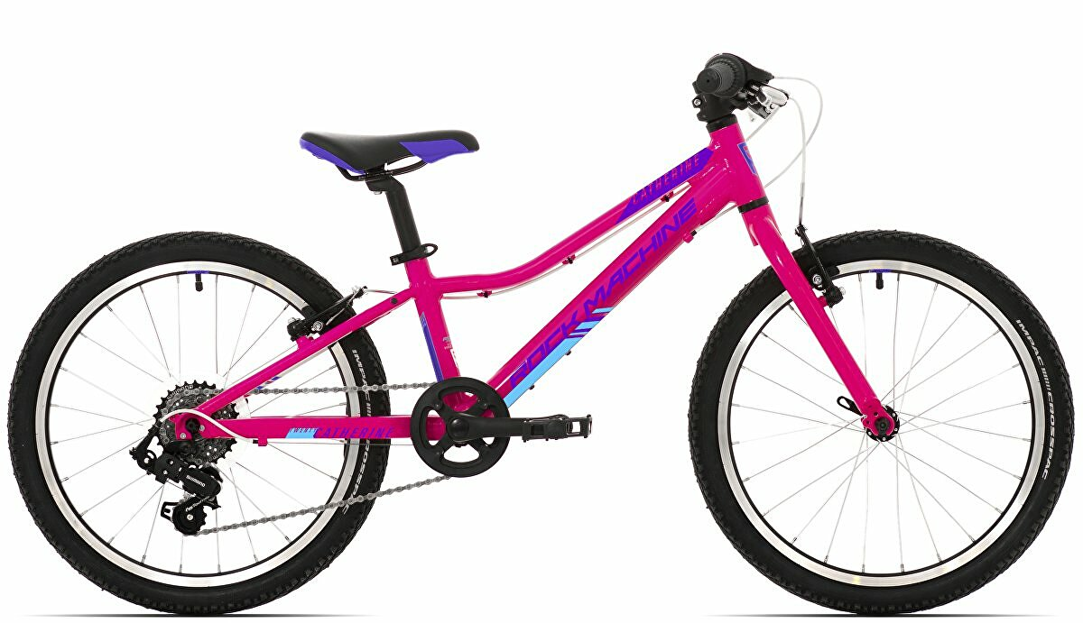 Dětské kolo Rock Machine Catherine 20 gloss neon pink/Violet/neon cyan 2021