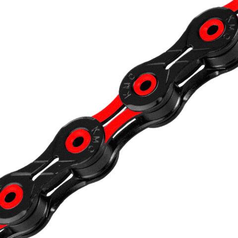 Řetěz KMC DLC 11 červeno/černý v krabičce