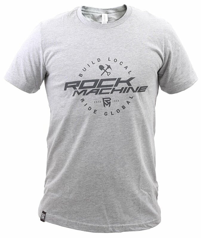 tričko ROCK MACHINE unisex šedé vel. L logo BUILD LOCAL